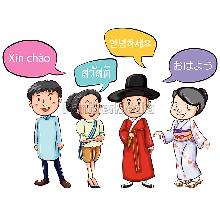 people from different countries greeting
