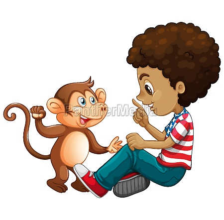 boy playing with a little monkey