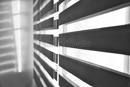 sun shining through window blinds throwing