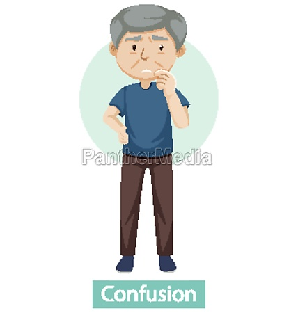 cartoon character with confusion symptoms