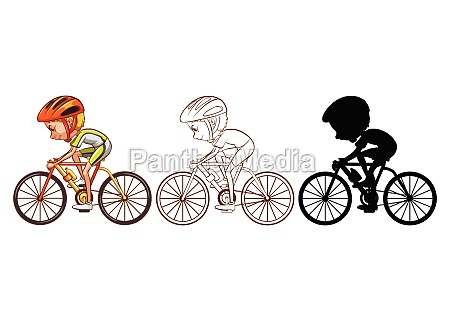 set of cycling athlete