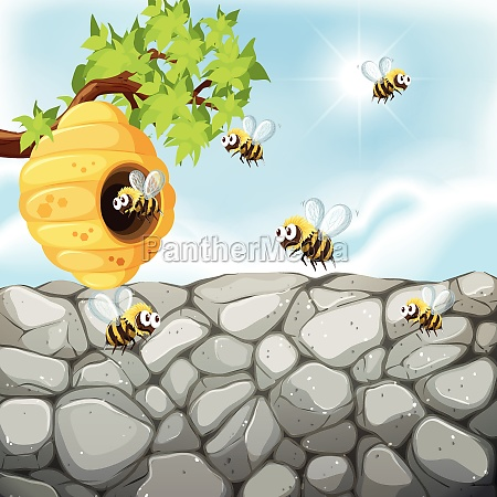 bees flying around the beehive