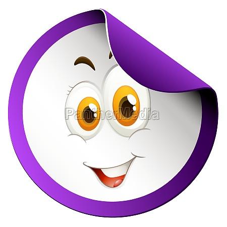 happy face round sticker