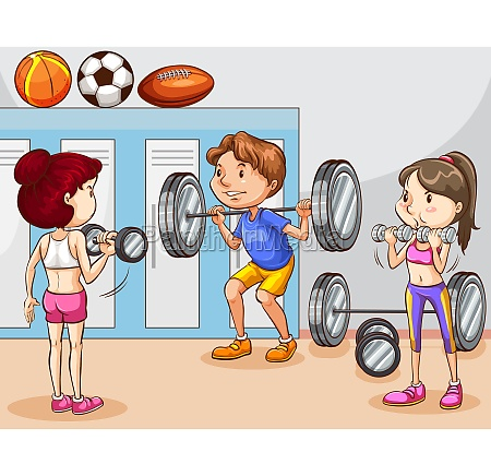 people working out in gym