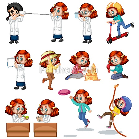 red hair girl doing different activities