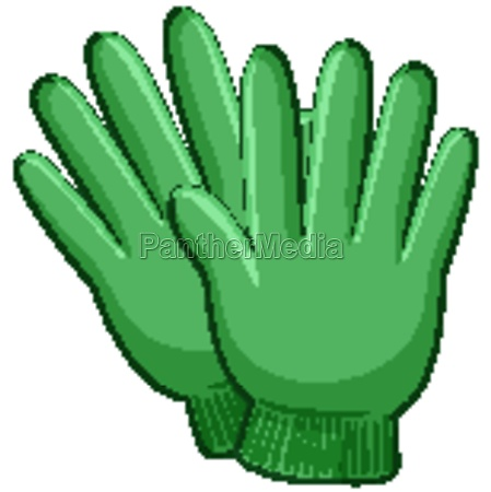 green gloves in cartoon style isolated