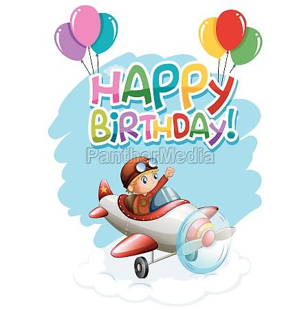 happy birthday boy in plane card