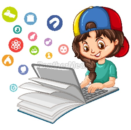 girl searching on laptop with education