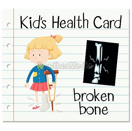health card with broken bone