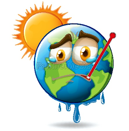 global warming with melting earth