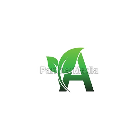 letter a with green leafs icon
