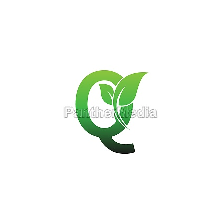 letter q with green leafs icon