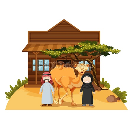 two arab people and camel at