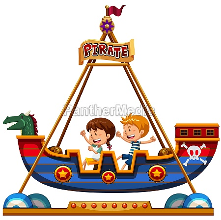 children riding on viking