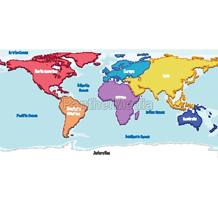 world map with continents names and
