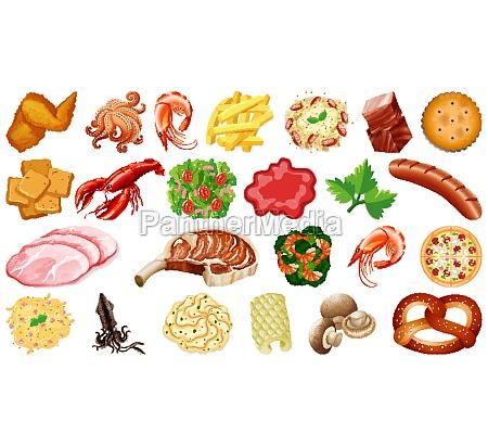 set of fresh food ingredients