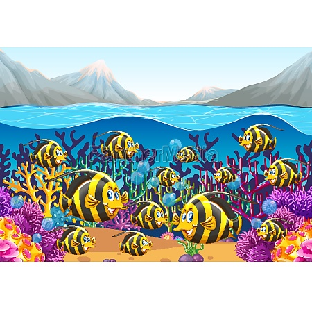 scene with fish swimming under the