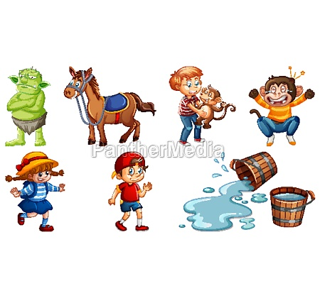 set of different nursery rhyme character