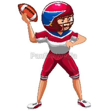athlete doing american football on white