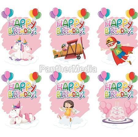 set of cute birthday icon
