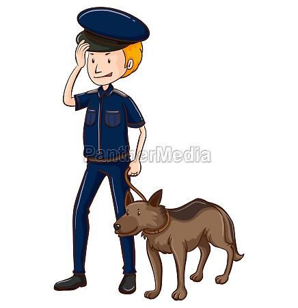policeman and police dog
