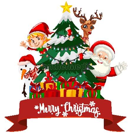 christmas theme with santa and presents