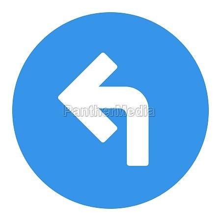 turn left arrow vector glyph icon