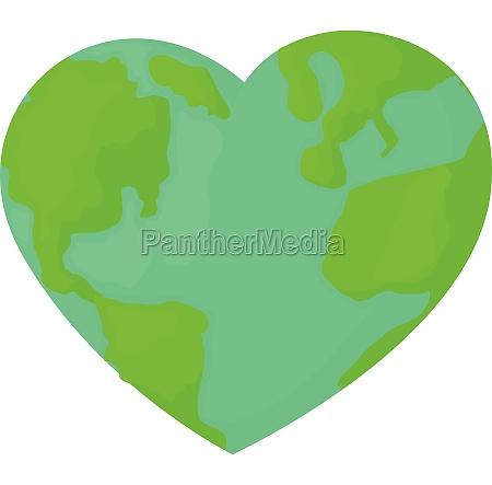 heart earth icon cartoon style