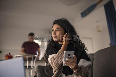 beautiful woman using smart phone at