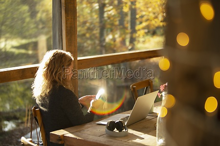businesswoman with smart phone working in