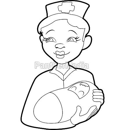 nurse with a newborn icon isometric