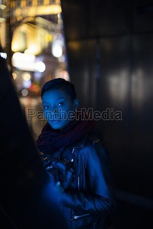 portrait beautiful young woman in dark