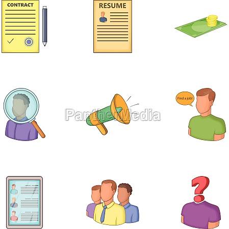 job search icons set cartoon style