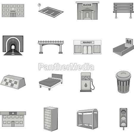 city infrastructure icons set monochrome style