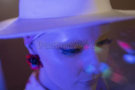close up stylish woman in fedora