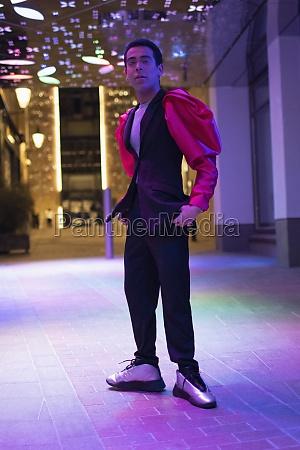 portrait eccentric stylish young man under