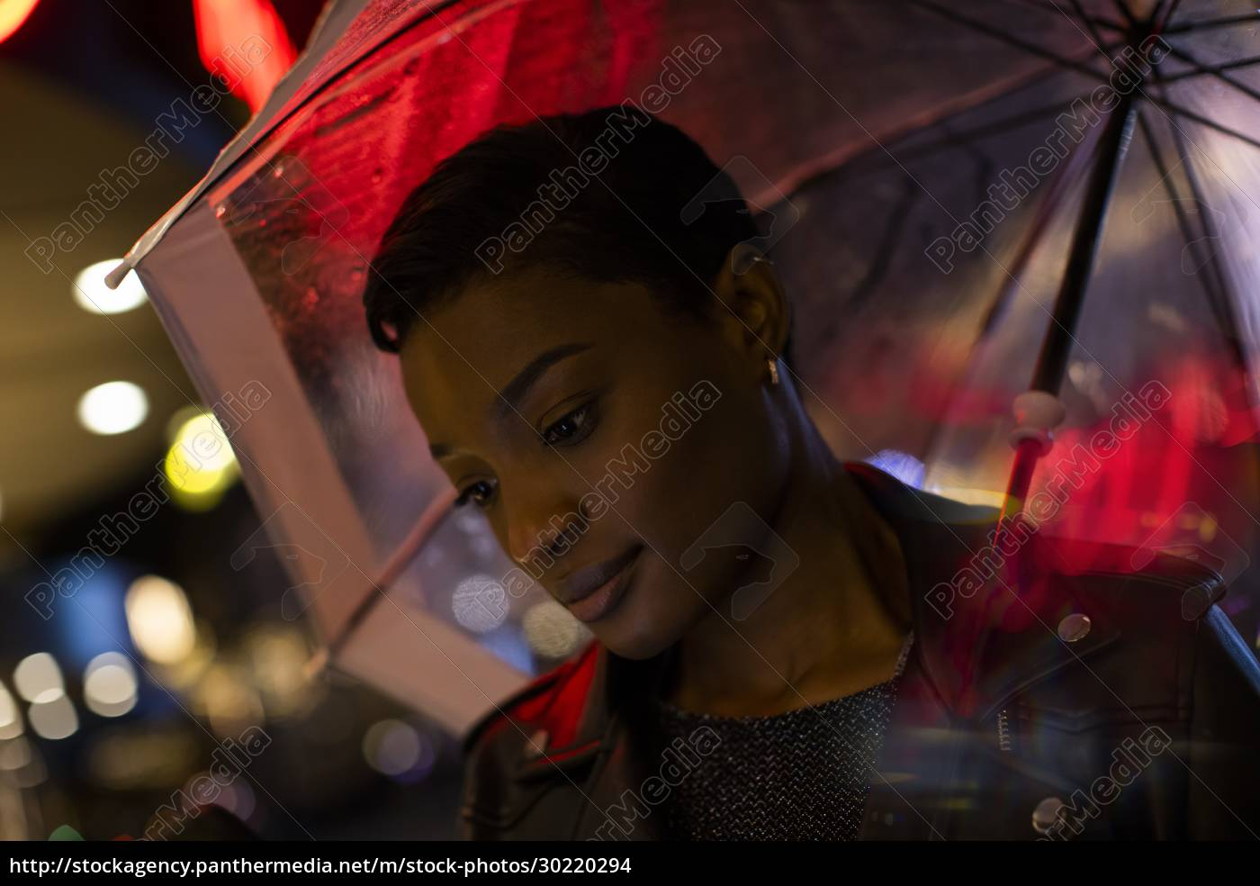 young, woman, under, umbrella, and, neon - 30220294