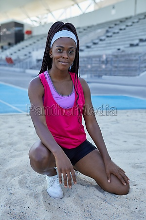 portrait confident female track and field