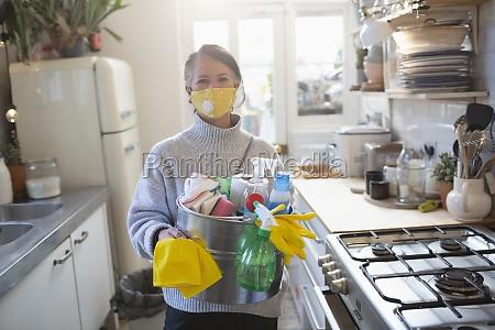 portrait confident woman in face mask