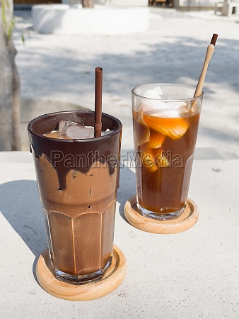 a glass of iced mocha and
