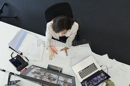 businesswoman talking in video conference at