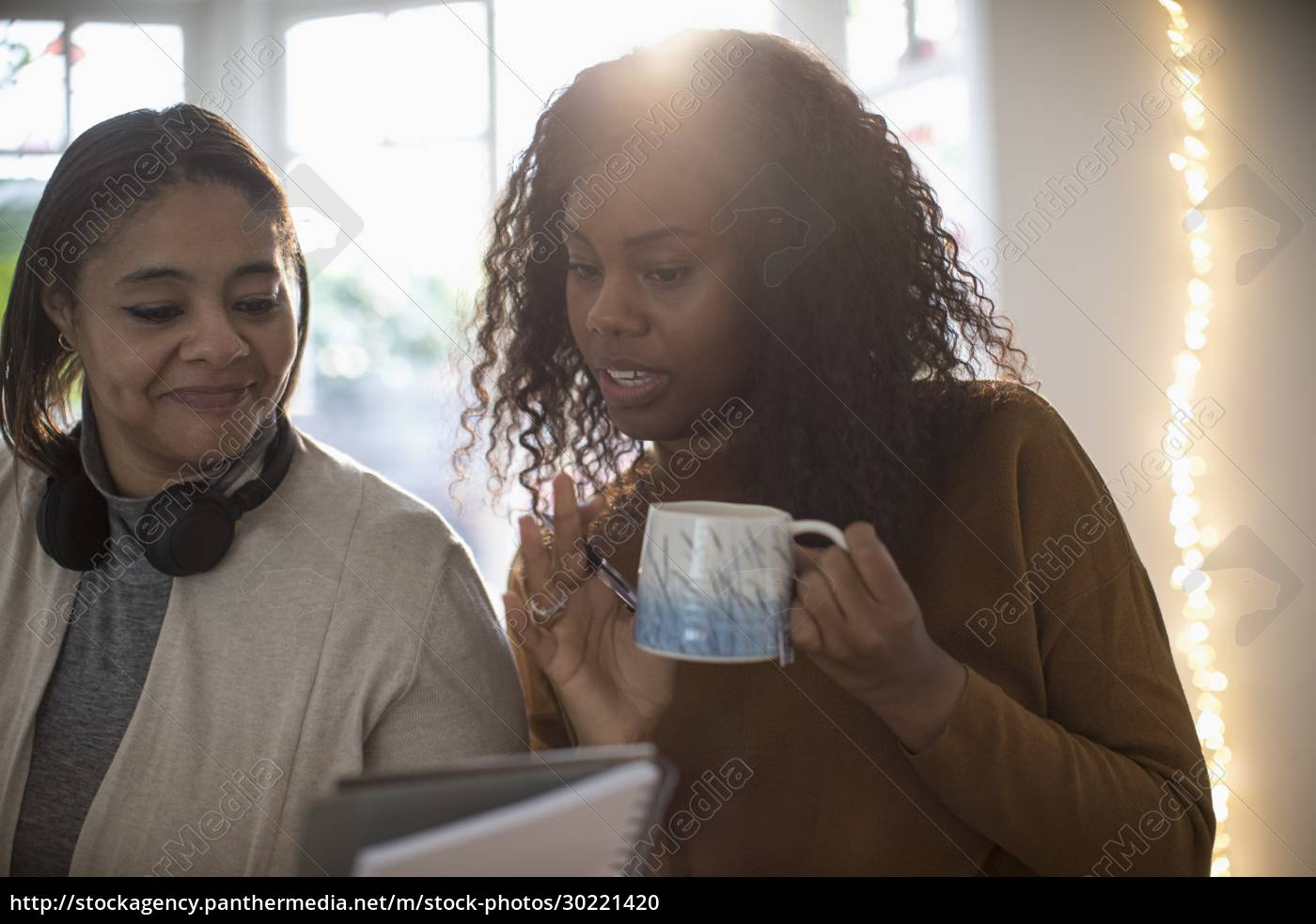 mother, and, daughter, drinking, tea, and - 30221420