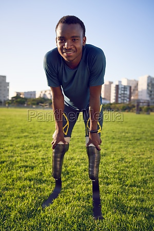 portrait confident handsome male amputee athlete