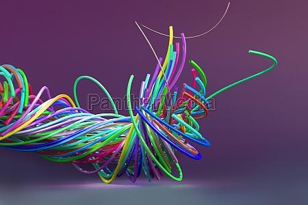 digitally generated image tangled multicolor fiber