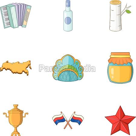 russia icons set cartoon style