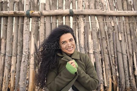 portrait happy beautiful woman in winter