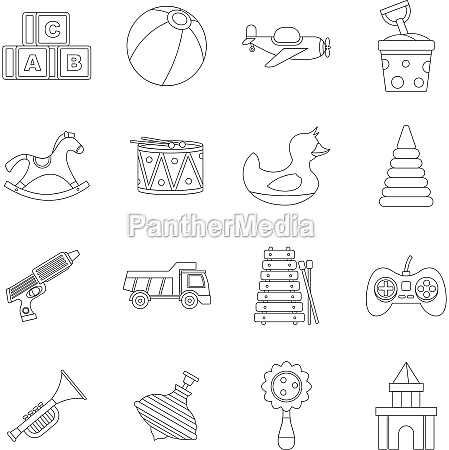 different kids toys icons set outline