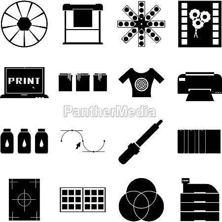 print items icons set simple style