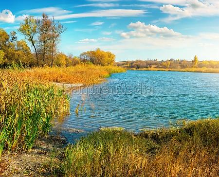 orange autumn on river