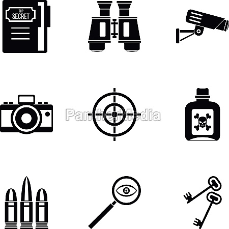 spy icons set simple style